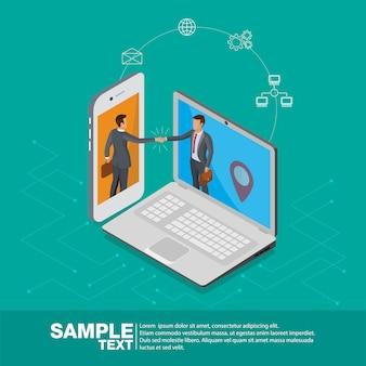 Isometric 3d transakcja na telefonie komórkowym i laptopie.