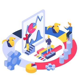 Isometric analityka biznesu drużyna, ilustracja. ludzie analiza postaci marketingowej koncepcji wykresu i wykresu.