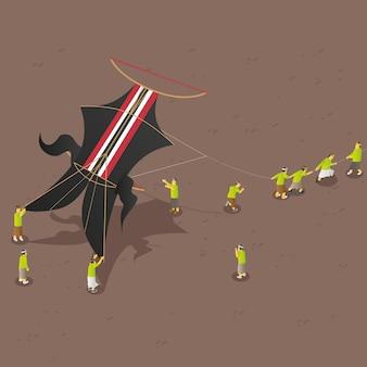 Isometric balinese traditional kites