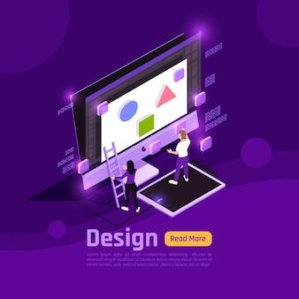 Isometric barwioni ludzie i interfejsy jarzą się z sztandaru projekta nagłówkiem i tematu wektoru ilustracją