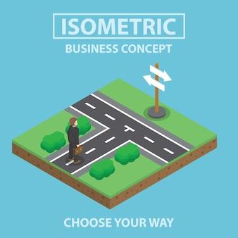Isometric biznesmen pozycja przed rozdrożem