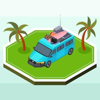 Isometric blue camper van noszenie niektórych materiałów piknikowych
