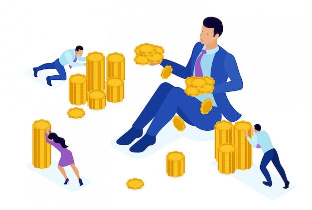 Isometric bright koncepcja organizacji mikrofinansowej, wielki biznesmen posiadający dużo pieniędzy. koncepcja dla sieci