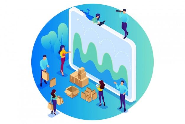 Isometric bright koncepcja serwisu cyfrowego zamówień, badań marketingowych, pracy zespołowej. koncepcja dla sieci
