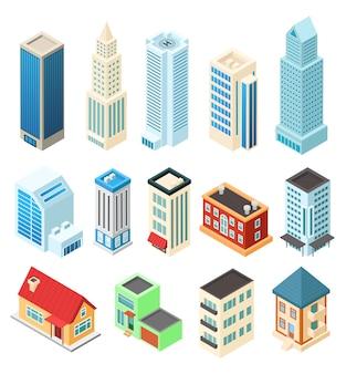 Isometric budynki ustawiający na białym, biurowym drapaczu chmur i mieszkaniowym domu, ilustracja