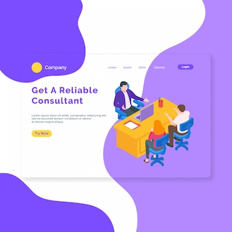 Isometric consulting landing page template