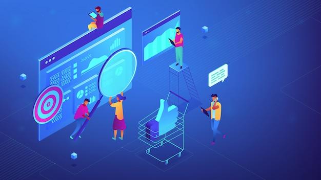 Isometric cyfrowa strategia marketingowa drużyny ilustracja.