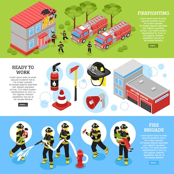 Isometric firefighter banners