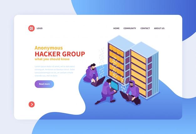 Isometric hackera pojęcia strony internetowej projekta strona docelowa z anonimowymi hakerskimi grupowymi wizerunkami klikalnymi linkami i teksta wektoru ilustracją