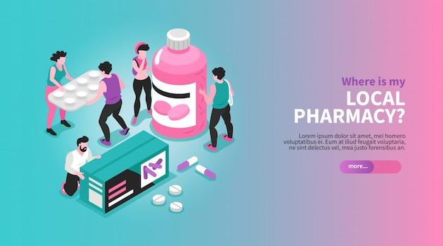Isometric horyzontalny apteka sztandar z ludźmi trzyma lek pakuje pojęcia 3d ilustrację