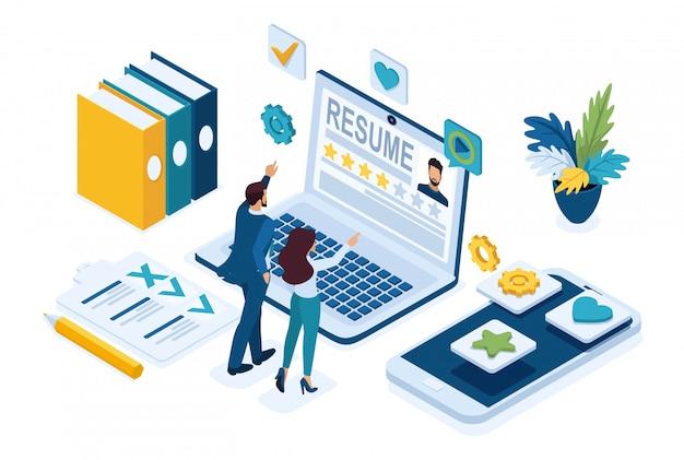 Isometric hr manager, usługa znajdowania pracowników, menedżerów rozważa kandydatów, kandydatów.