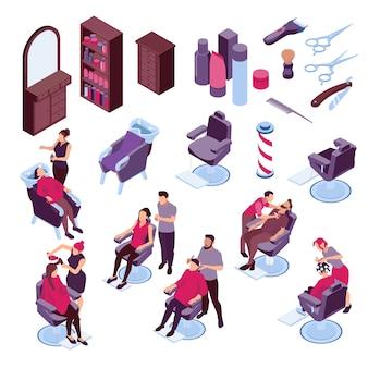 Isometric ikony ustawiać z fryzjera męskiego meble narzędziami i ludźmi barwi włosy i goli 3d odizolowywającą ilustrację