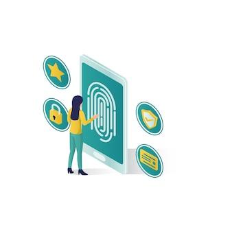 .isometric ilustracja bezpieczeństwa danych, bezpieczeństwo danych ludzi w izometrycznym stylu
