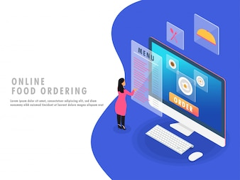 Isometric ilustracja dla Online jedzenia rozkazuje pojęcia