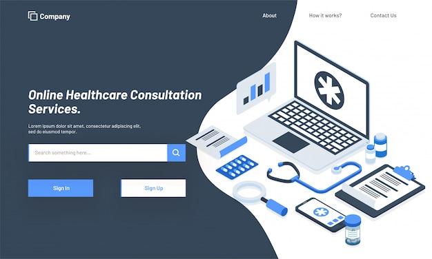 Isometric ilustracja laptop z medycznymi equipments.