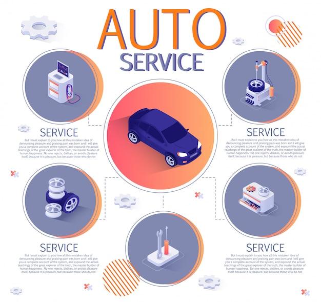 Isometric infographic dla auto service