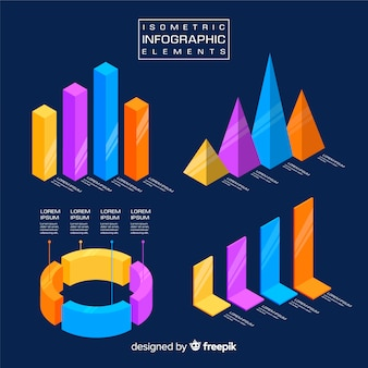 Isometric infographic elements template