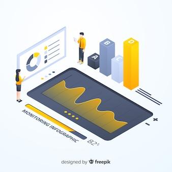 Isometric kolorowy monitorowanie infographic szablon