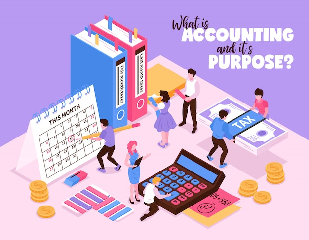 Isometric księgowość skład z małymi ludzkimi charakterami i organizatorów elementami workspace kalendarza kalkulator i książka wektoru ilustracja