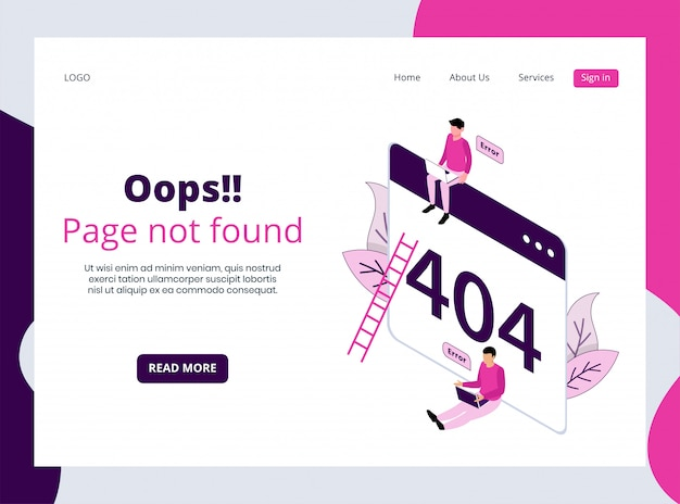 Isometric landing page of 404 page not found