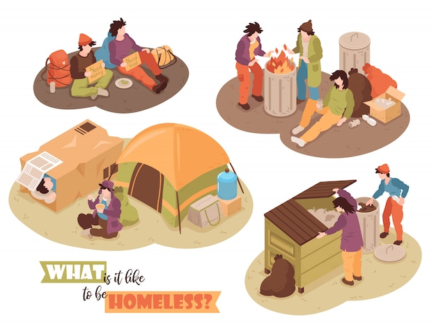 Isometric ludzie bezdomni projektują pojęcie z ludzkimi charakterami marnują kosze i obozują namioty wizerunki z teksta wektoru ilustracją