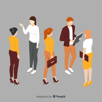 Isometric ludzie biznesu spotyka ilustrację