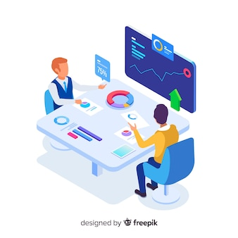 Isometric ludzie biznesu w spotkanie ilustraci