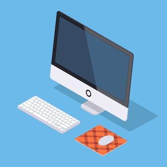 Isometric monoblock komputer z białą klawiaturą i komputerową myszą na dywaniku przeciw błękitnemu tłu.