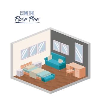 Isometric podłogowy plan sypialni kolorowa wewnętrzna sylwetka