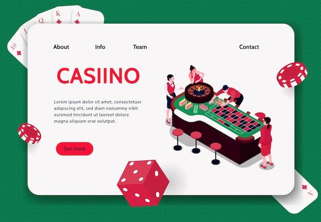 Isometric pojęcie sztandar z ludźmi bawić się ruletę w kasynowej 3d ilustraci