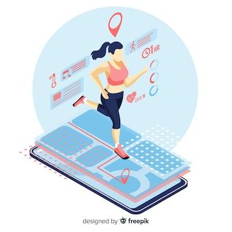 Isometric running infographic app mobilny