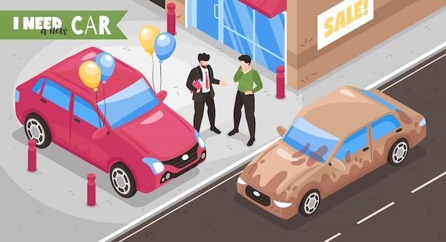 Isometric samochodowy sala wystawowa wymieniał skład z widokiem miasto charakterów uliczny ludzki tekst i samochodu wektoru ilustracja