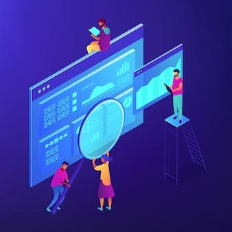 Isometric seo marketing i analityka ilustracja.