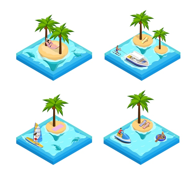 Isometric set island vacation