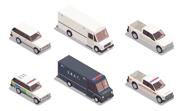 Isometric skład z awaryjnymi samochodami policyjnymi i innym transportem odizolowywającymi na białym tle 3d