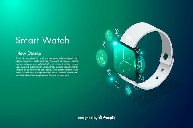 Isometric smarth zegarek tło