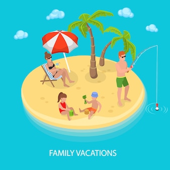 Isometric tropical island beach with happy family relaxing.