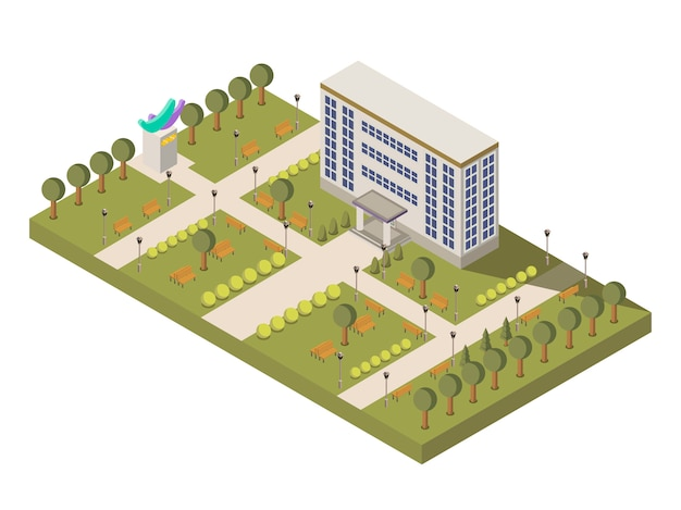 Isometric university and campus composition