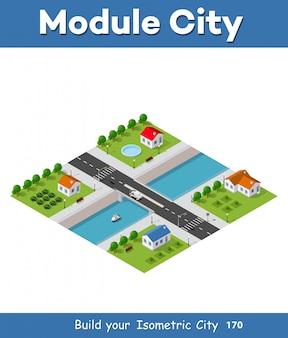 Isometric wektorowa ilustracja nowożytny miasto