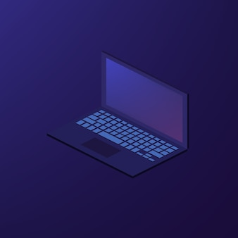 Isometric wektorowa notatnika laptopu ilustracja
