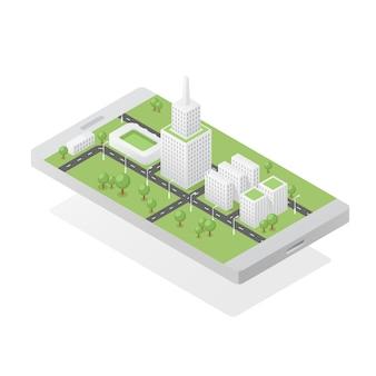 Isometric zielony miasto na smartphone ekranie
