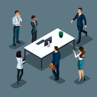 Isometrics biznesmen na szarym tle różnych narodowości prowadzi działalność gospodarczą. rozwój biznesu międzynarodowego, konferencje, spotkania zestaw 2