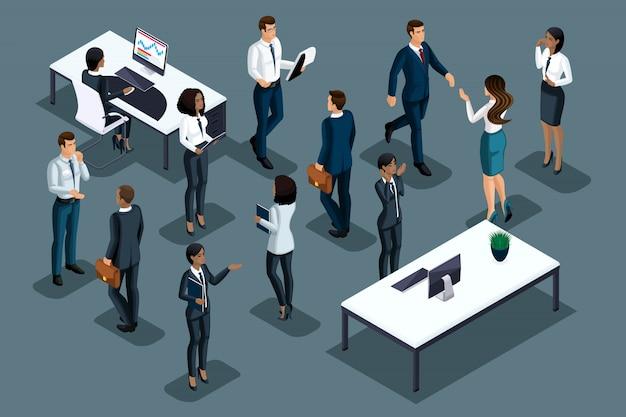 Isometrics biznesmen na szarym tle różnych narodowości prowadzi działalność gospodarczą. rozwój biznesu międzynarodowego, konferencje, spotkania