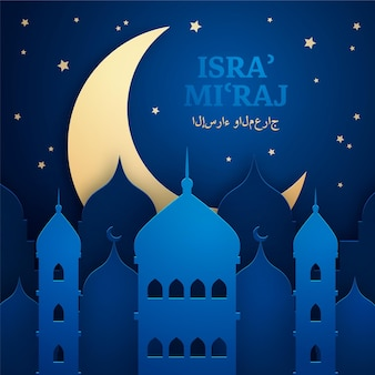 Isra miraj ilustracja w stylu papierowym z księżycem i budynkami