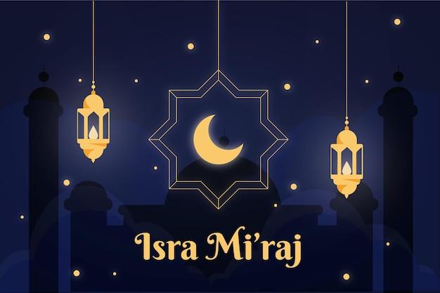 Isra miraj ilustracja z księżycem i latarniami