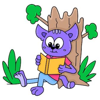 Istota czyta książkę pod drzewem, doodle rysuj kawaii. sztuka ilustracji wektorowych