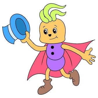Istota ubrana w strój maga wykonuje pokaz magii, ilustracja wektorowa. doodle ikona obrazu kawaii.