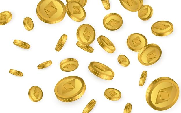 Itp. ethereum classic eksplozji złotych monet na białym tle. koncepcja kryptowaluty.