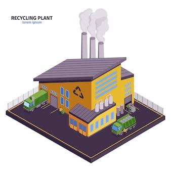 Izolowana i izometryczna ilustracja śmieci z nagłówkiem zakładu recyklingu i nowoczesnym budynkiem