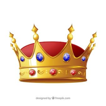 Izolowana korona z niebieskimi i czerwonymi klejnotami